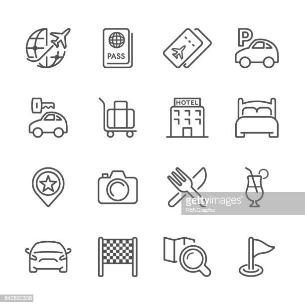 stockillustraties, clipart, cartoons en iconen met flat line icons - travel series - food and drink