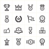 Flat Line Icons Trophy and Prize Icons Vector Illustration