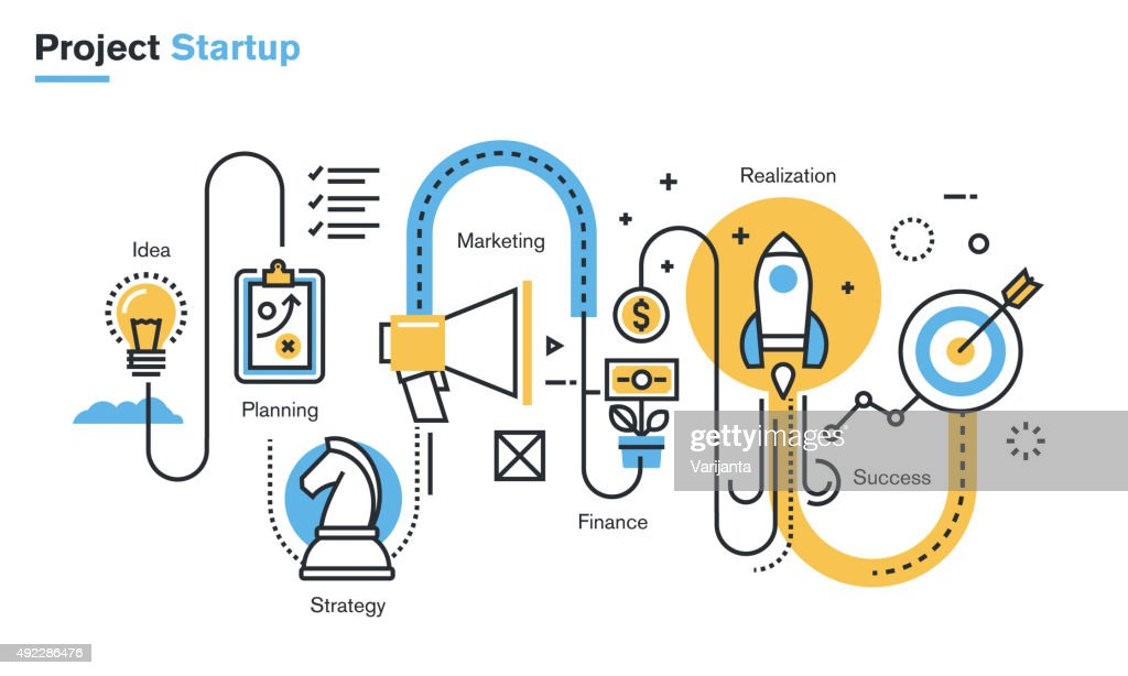 Flat line illustration of business project startup process