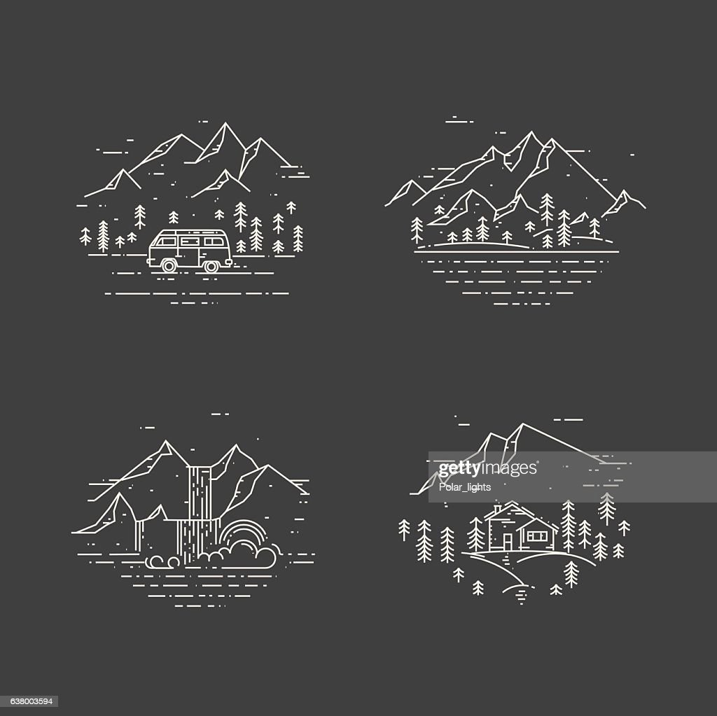 Flat line illustration with wild landscapes, travel concept set on