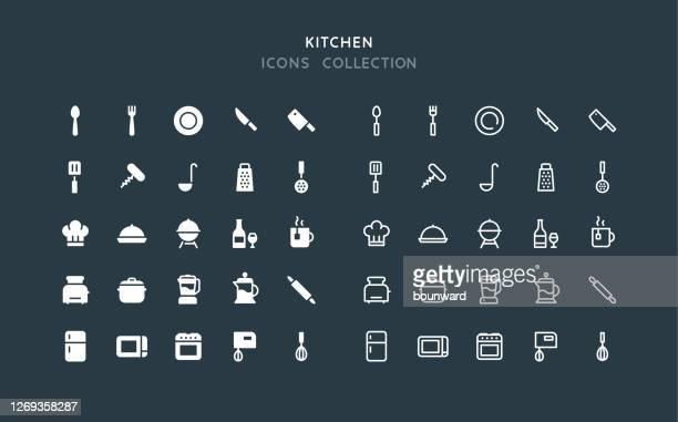 flat & line kitchen icons - stew pot stock illustrations