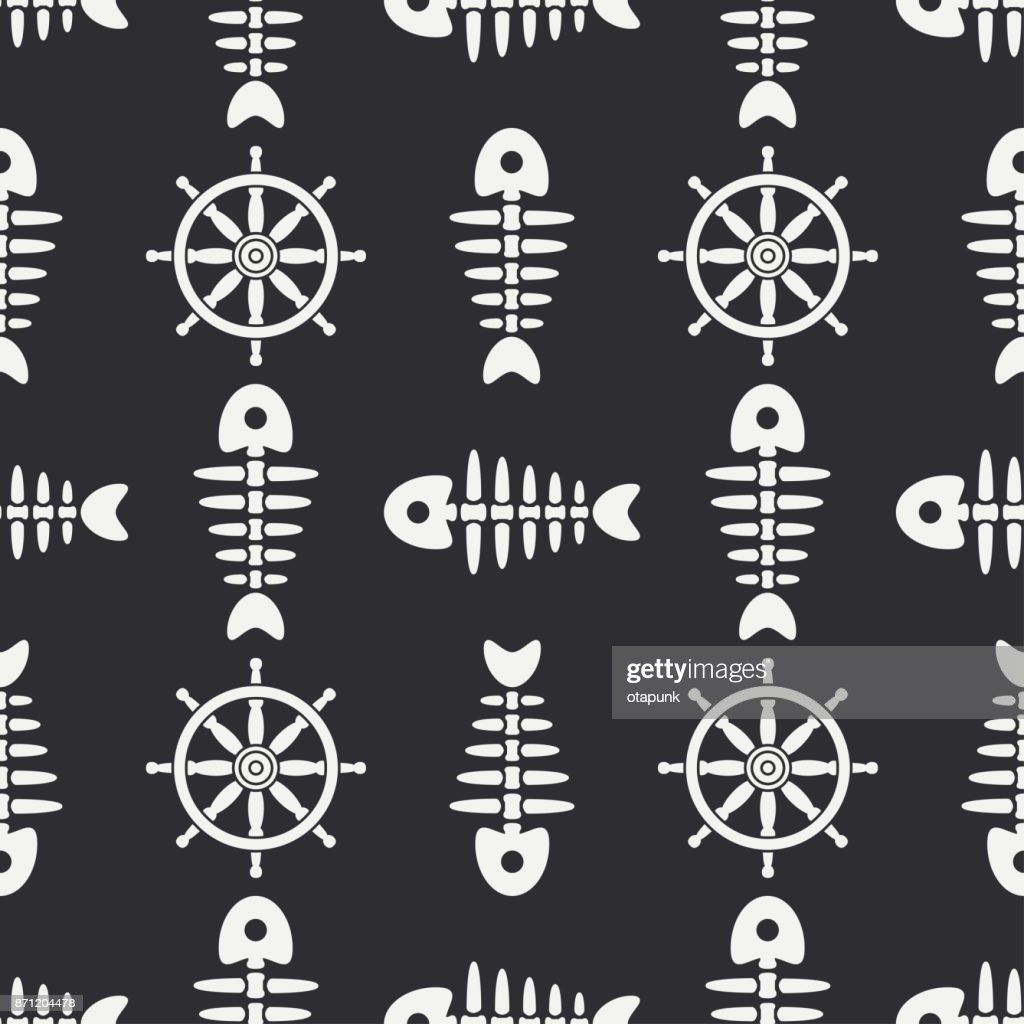 Flat line monochrome vector seamless pattern ocean fish bone, skeleton with steering wheel. Retro cartoon style. Skull. Sea doodle art. Background.