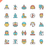 Flat line people icons set