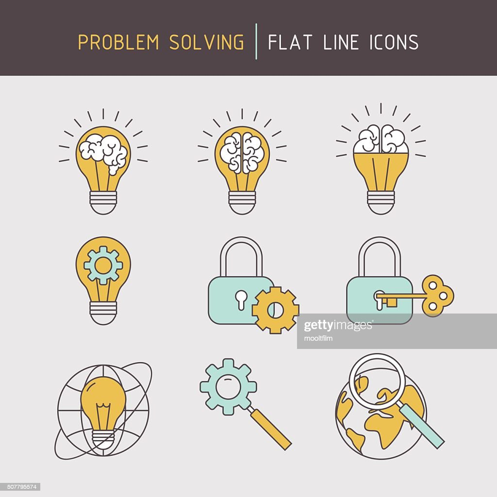 Flat line problem solving icons