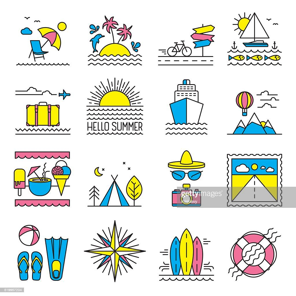 Flat line summer icons
