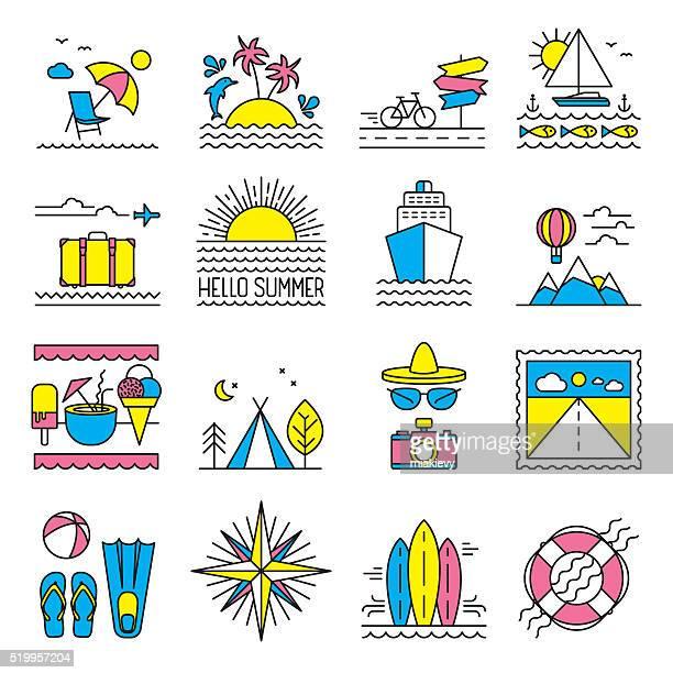 Piatto linea icone estate