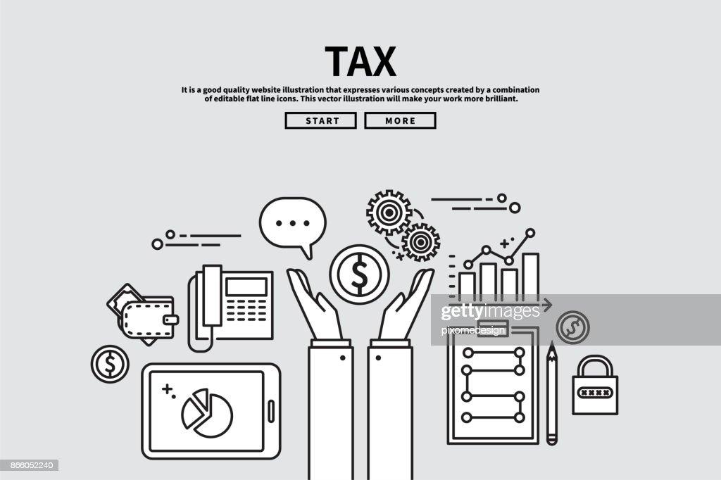 Flat line vector editable graphic illustration, business finance concept, tax