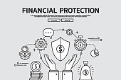 Flat line vector editable graphic illustration, business finance concept, financial protection