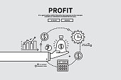 Flat line vector editable graphic illustration, business finance concept, profit