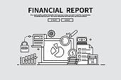 Flat line vector editable graphic illustration, business finance concept, financial report
