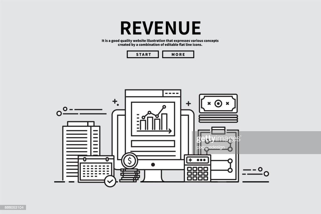 Flat line vector editable graphic illustration, business finance concept, revenue
