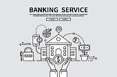 Flat line vector editable graphic illustration, business finance concept, banking service