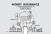 Flat line vector editable graphic illustration, business finance concept, money Insurance