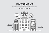 Flat line vector editable graphic illustration, business finance concept, investment