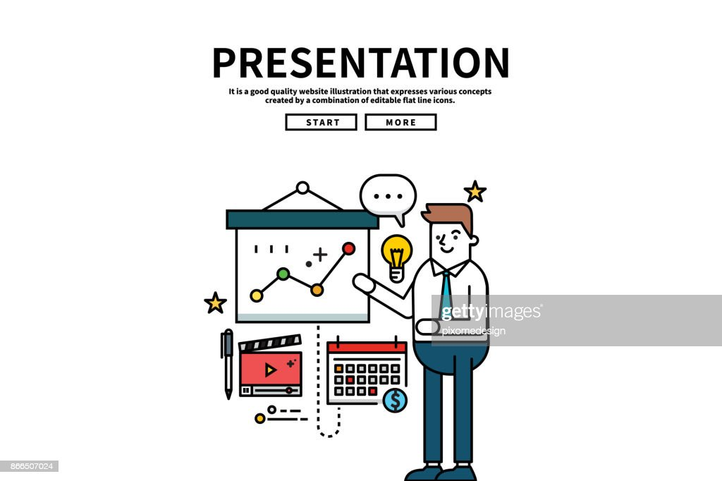 Flat line vector editable graphic website illustration, business presentation