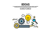 Flat line vector editable graphic website illustration, ideas