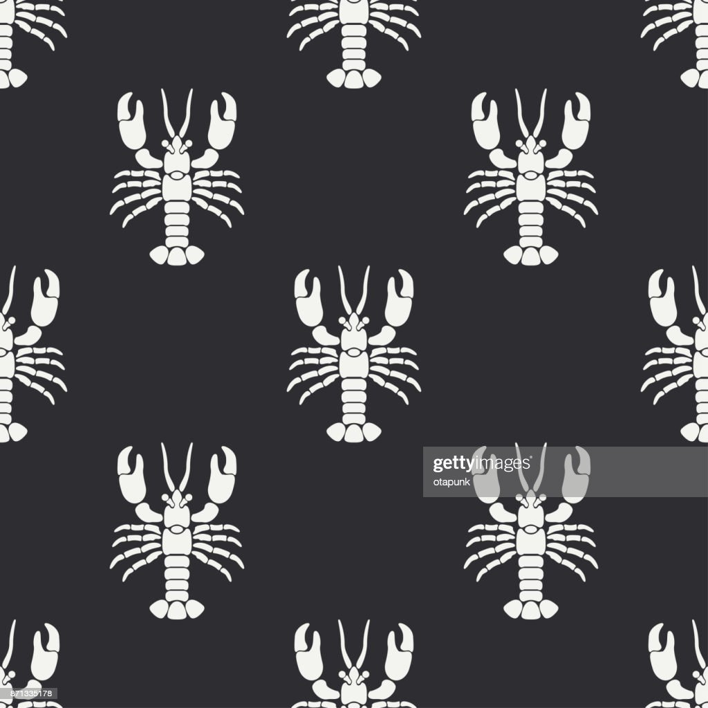 Flat line vector seamless pattern ocean fauna lobster. Simplified retro. Cartoon style. Cancer. Omar. Seafood delicacy. Shell. Claw. Sea. Crustacean. Illustration element for your design and wallpaper