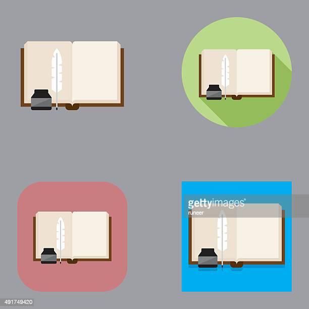 ilustraciones, imágenes clip art, dibujos animados e iconos de stock de bibliografía de escritura plana kalaful iconos/serie - plumadeescribir