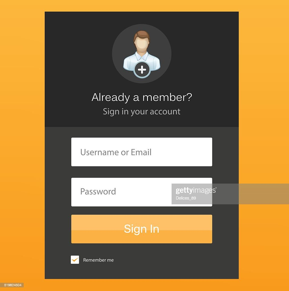 Flat Log In Template Sign Up Form Vector Art | Getty Images
