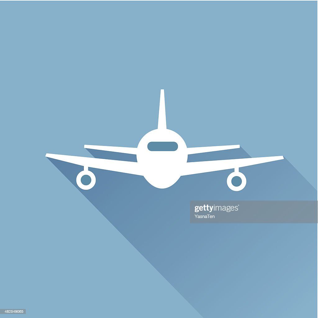 Flat long shadow air plane