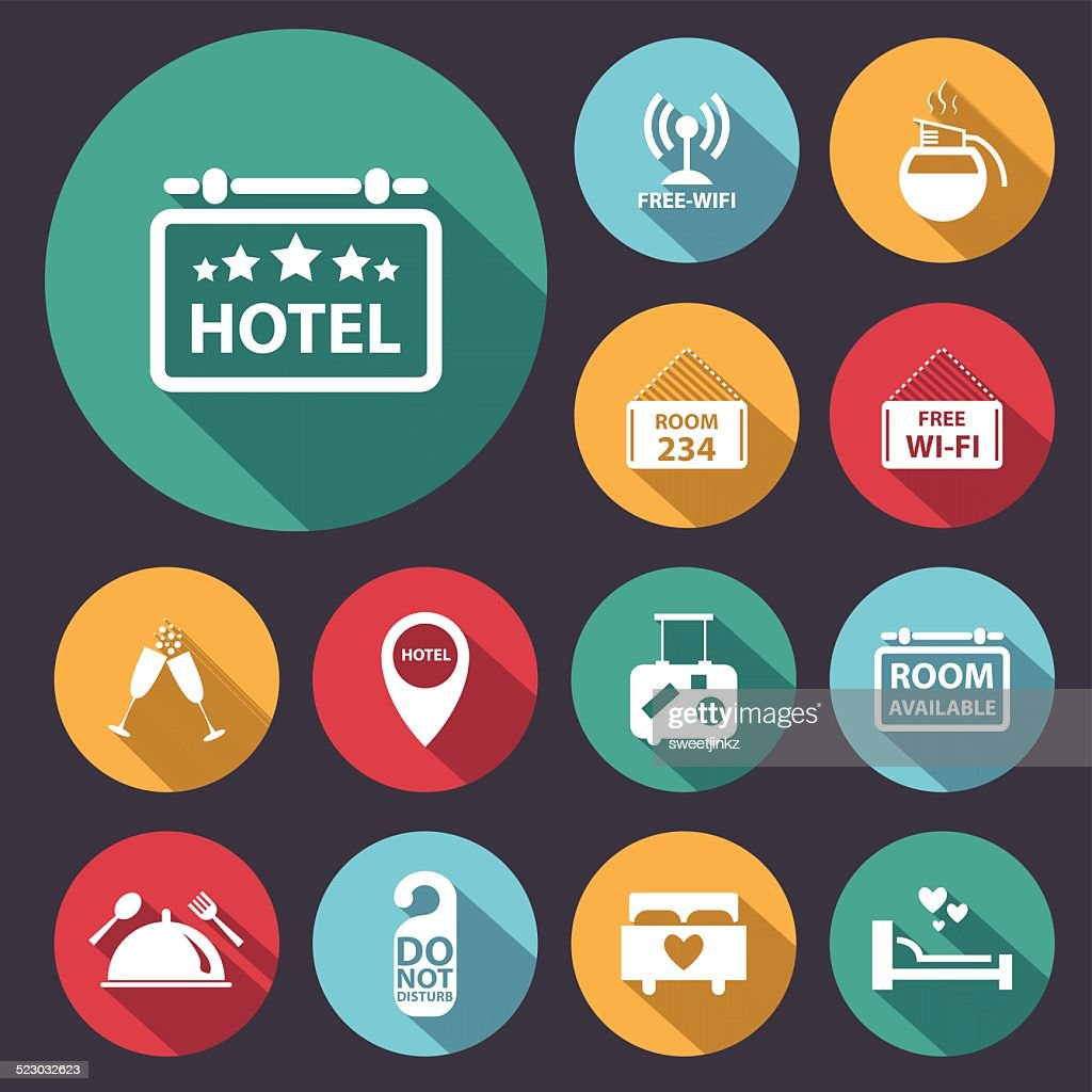 flat long shadow hotel icon set.Vector/Illustration.