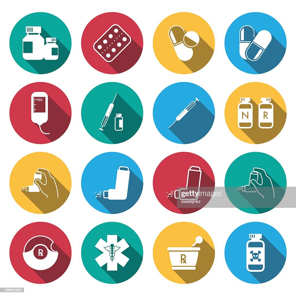 Flat long shadow Pharmacy Icons and Medical Icons set.