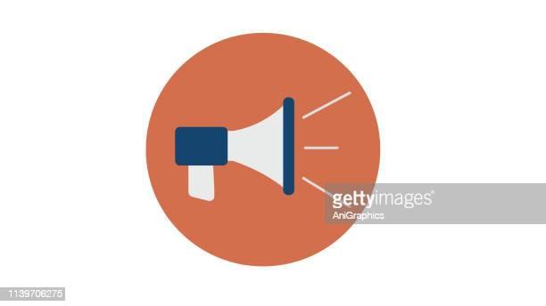 flat loudspeaker icon - megaphone stock illustrations