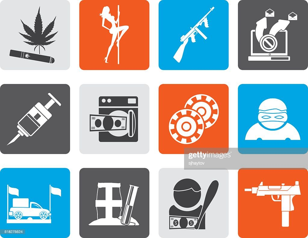 Flat mafia and organized criminality activity icons