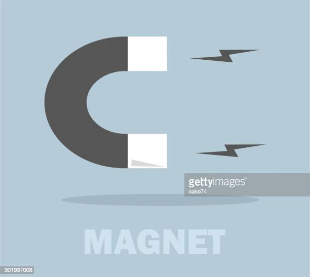 flat magnet icon - magnet stock illustrations, clip art, cartoons, & icons