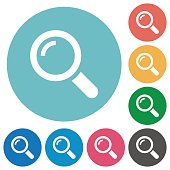 Flat magnifier icons