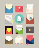 Flat mail icons
