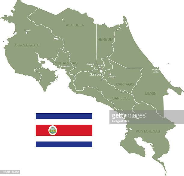 flat map and flag of costa rica - costa rica stock illustrations, clip art, cartoons, & icons