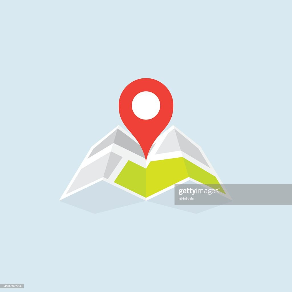Flat Map Location Pointer Icon