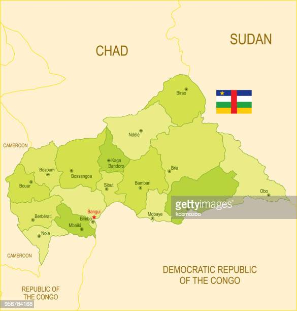 flat map of central african republic with flag - central african republic stock illustrations