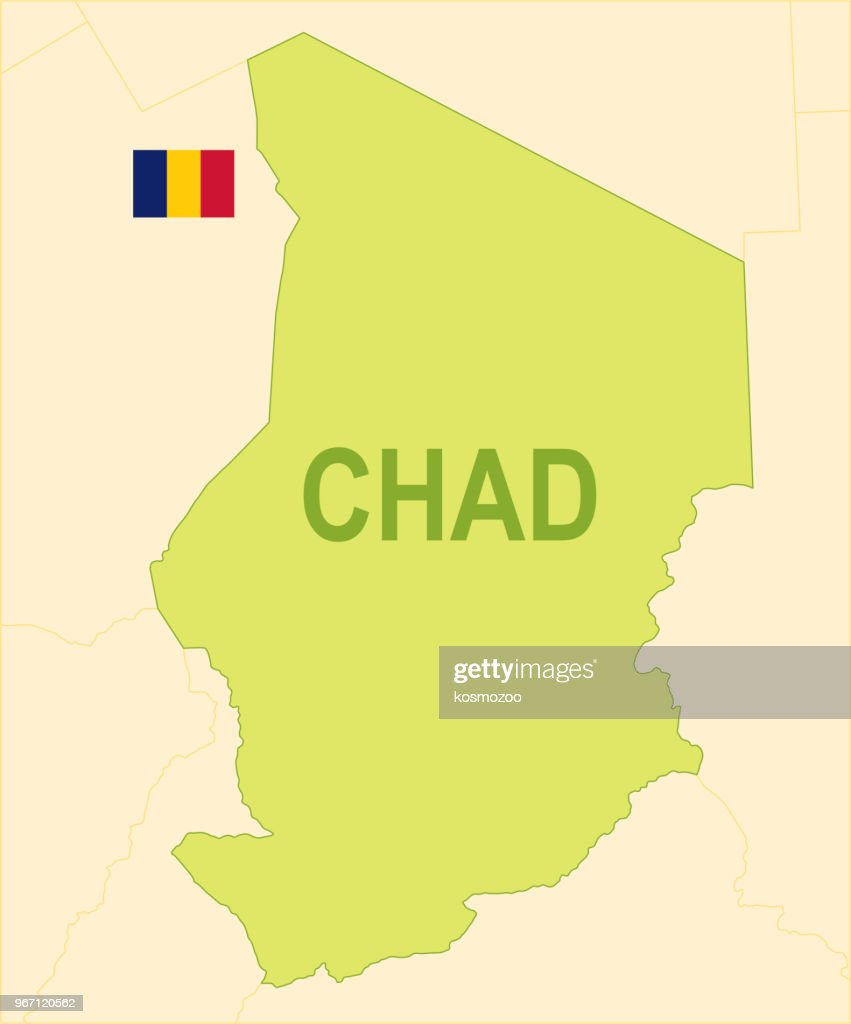Flat Map Of Chad With Flag stock vector - Getty Images