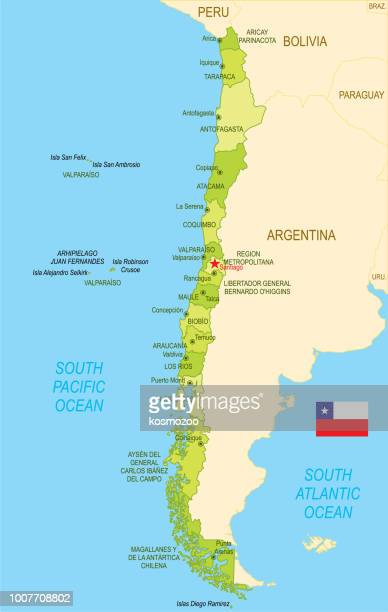Flat map of Chile with flag