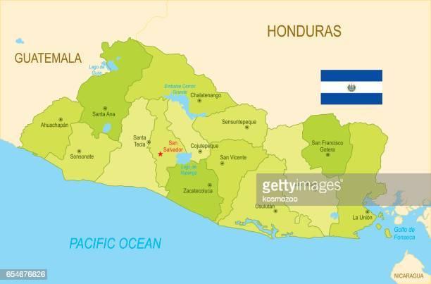 フラグとエル ・ サルバドルの平らな地図 - エルサルバドル国旗点のイラスト素材/クリップアート素材/マンガ素材/アイコン素材
