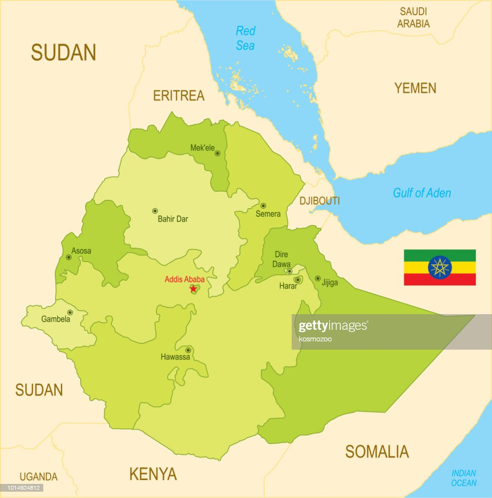 Flat map of Ethiopia with flag