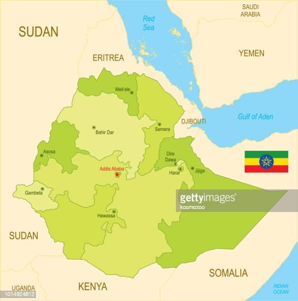 ilustrações, clipart, desenhos animados e ícones de mapa plano da etiópia com bandeira - ethiopia
