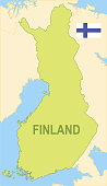 Flat map of Finland with flag
