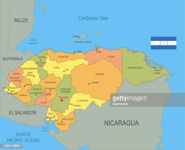 ilustraciones, imágenes clip art, dibujos animados e iconos de stock de mapa plano de honduras con bandera - honduras