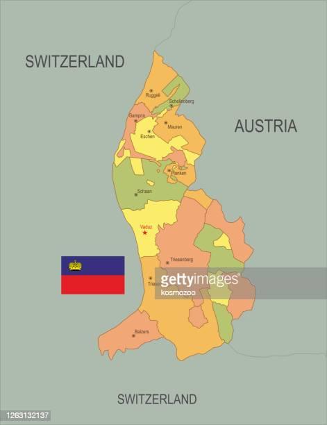 flat map of liechtenstein with flag - principality of liechtenstein stock illustrations