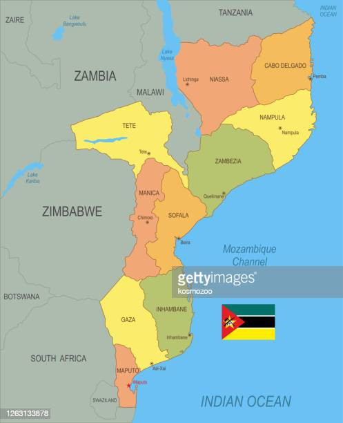 旗付きモザンビークの平らな地図 - モザンビーク点のイラスト素材/クリップアート素材/マンガ素材/アイコン素材
