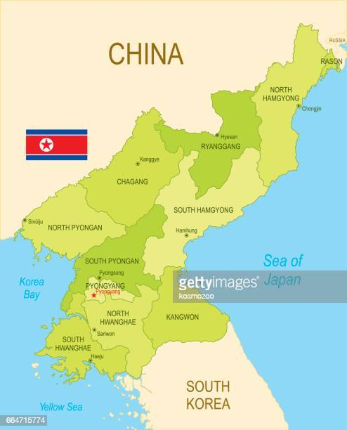 Flat map of North Korea with flag