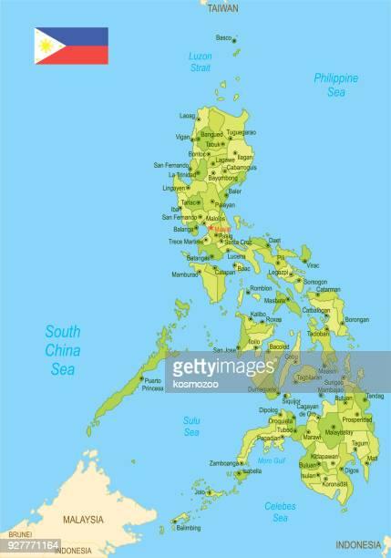 Flache Karte der Philippinen mit Flagge