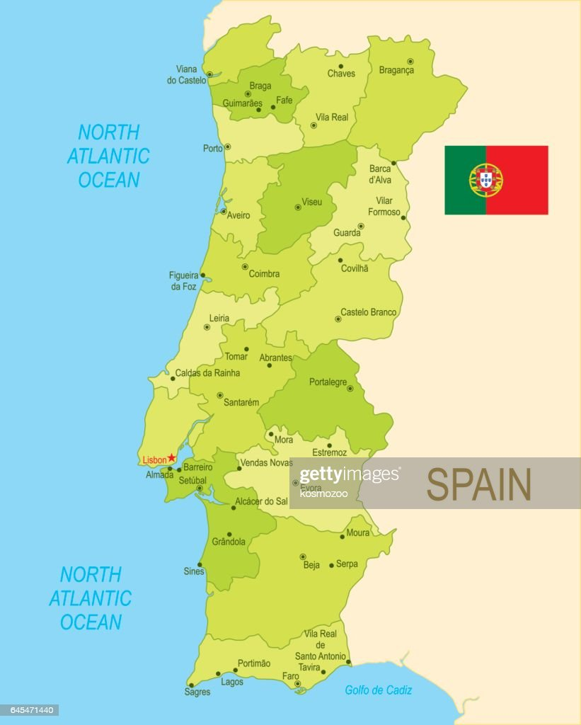 Flat Map Of Portugal With Flag Vector Art Getty Images