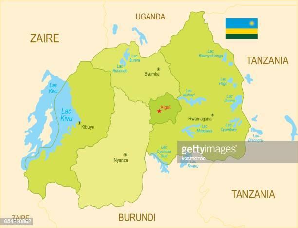 Flat map of Rwanda with flag