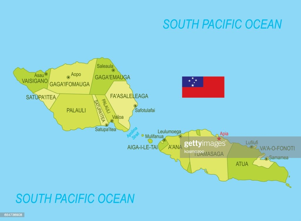 flat map of samoa with flag vector art
