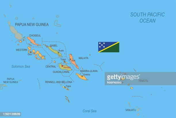 ソロモン諸島のフラットマップ  フラグ付き - ソロモン諸島点のイラスト素材/クリップアート素材/マンガ素材/アイコン素材