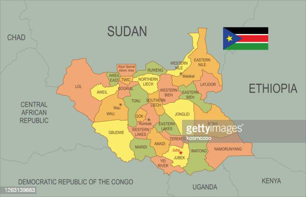 flat map of south sudan  with flag - south sudan stock illustrations